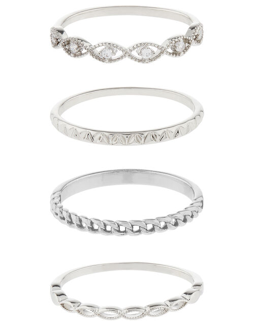 Platinum-Plated Sparkle Stacking Ring Set, Silver (SILVER), large