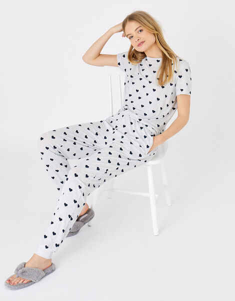 Heart Print Pyjama Set Grey, Grey (GREY), large