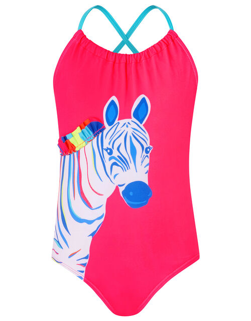 Zoe Zebra Colourful Swimsuit with Recycled Polyester, Multi (BRIGHTS-MULTI), large