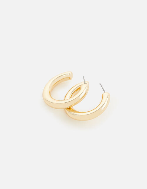 Reconnected Chunky Tube Hoops, Gold (GOLD), large