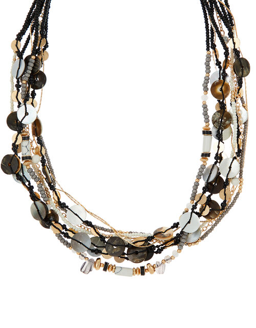 Mixed Shell and Bead Collar Necklace, , large