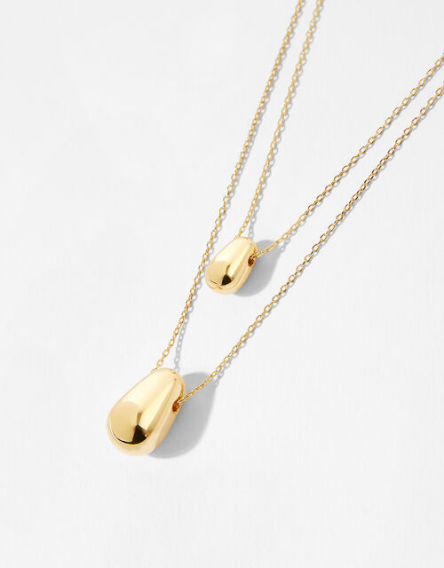 Gold-Plated Layered Pebble Necklace, , large