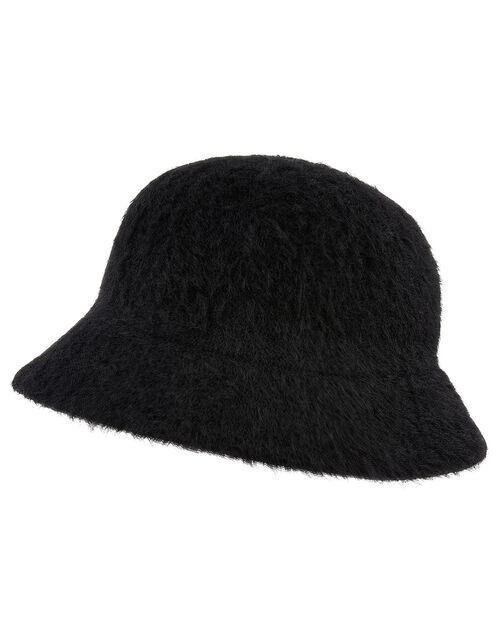 Fluffy Bucket Hat, Black (BLACK), large