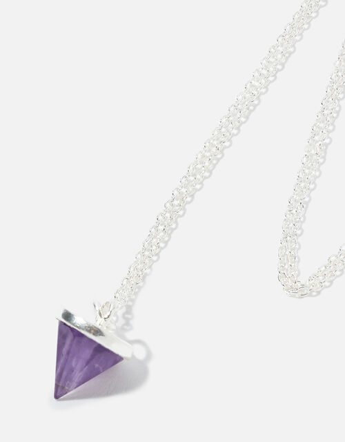 Sterling Silver Healing Stone Amethyst Pendant Necklace, , large