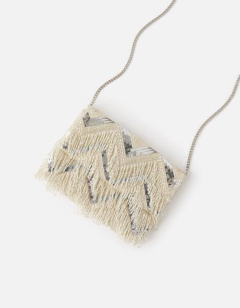Shimmer Fringe Clutch Bag , , large
