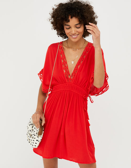 Lace Trim Crinkle Kaftan, Red (RED), large