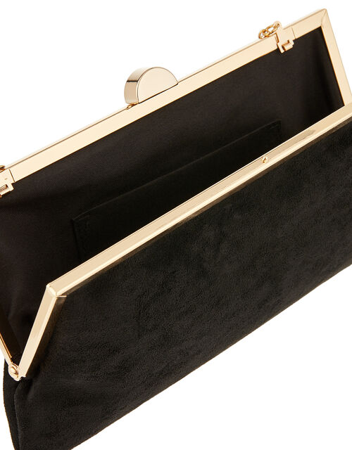 Suedette Clipframe Clutch Bag, Black (BLACK), large