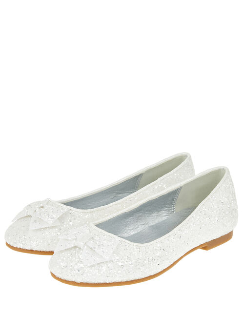 Sparkle Bow Glittery Ballet Flats, Natural (IVORY), large