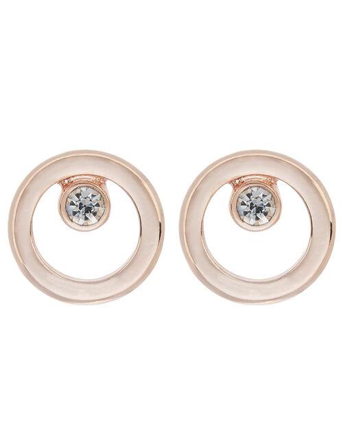 Crystal Circle Stud Earrings, , large