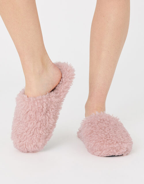 Fluffy Teddy Mule Slippers, Pink (PINK), large