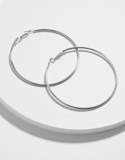 Medium Simple Hoop Earrings, Silver (SILVER), large