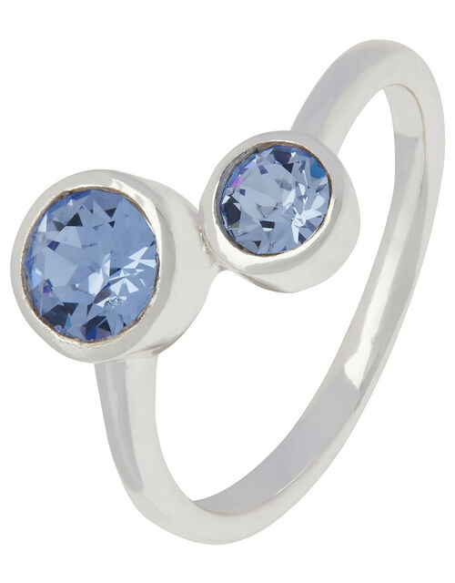 Sterling Silver Ring with Swarovski® Crystals, Blue (BLUE), large