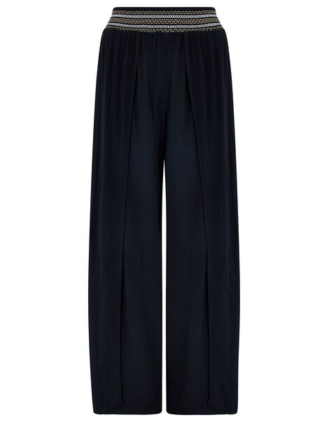 Smocked Wide Leg Beach Trousers Black, Black (BLACK), large