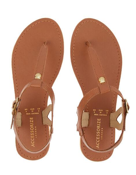 Seashell Charm Leather Sandals Tan, Tan (TAN), large