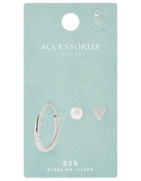 Sterling Silver Earring Set, , large