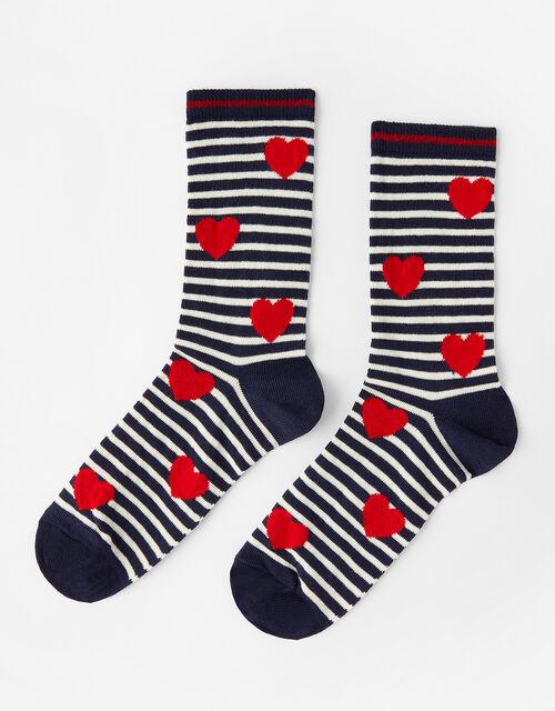 Nautical Stripe Heart Socks, , large