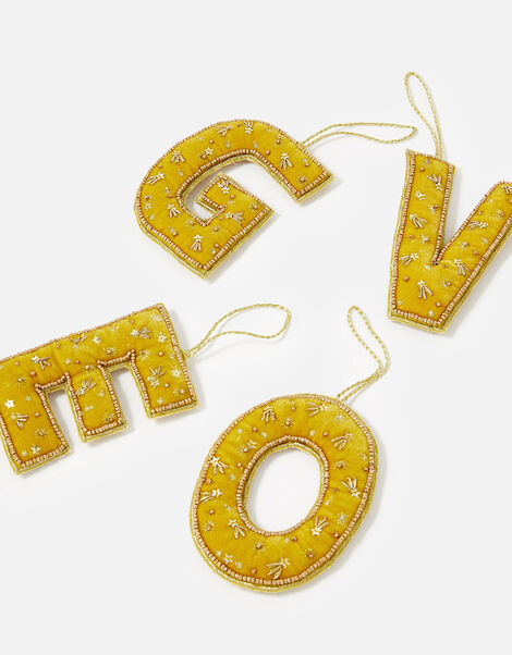 Embellished Initial Hanging Decoration Yellow, Yellow (OCHRE), large