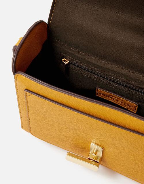 Abigail Turn Lock Cross-Body Bag , Yellow (OCHRE), large