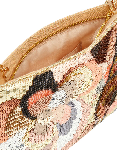 Seraphina Floral Sequin Clutch Bag, , large