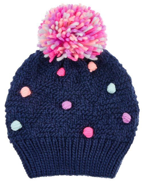 Spotty Pom-Pom Knit Beanie Hat, Multi (BRIGHTS-MULTI), large