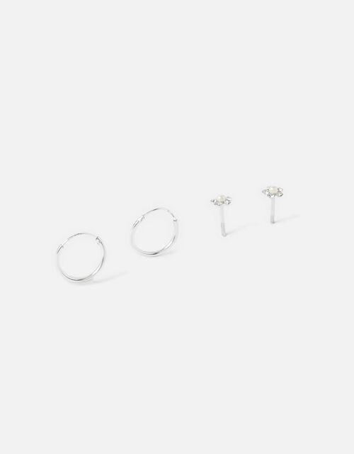Sterling Silver Flower and Hoop Earring Set, , large
