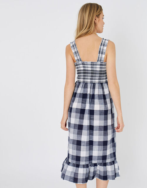 Gingham Midi Dress, Blue (NAVY), large