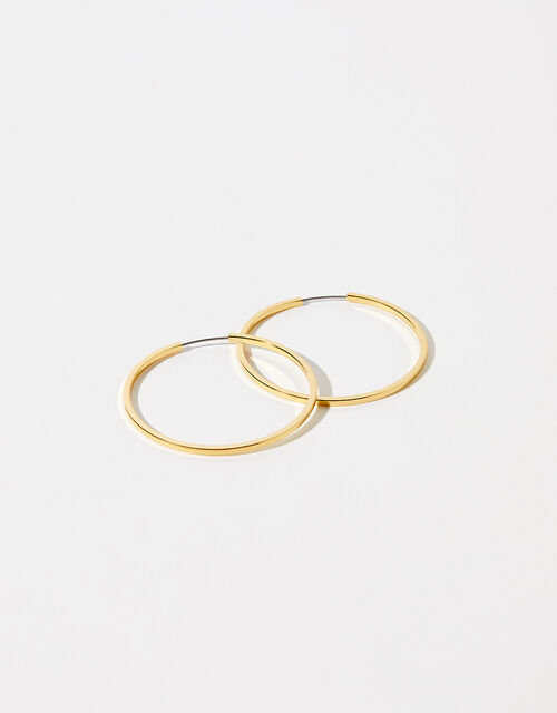 Gold-Plated Medium Hoop Earrings, , large