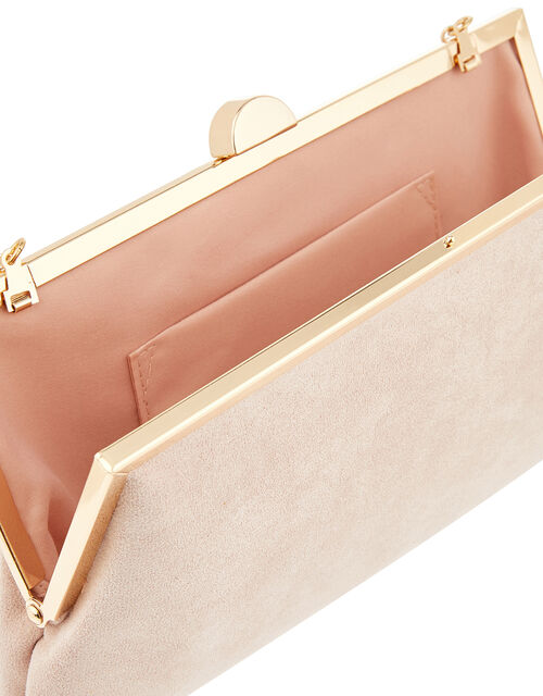 Suedette Clipframe Clutch Bag, Nude (NUDE), large