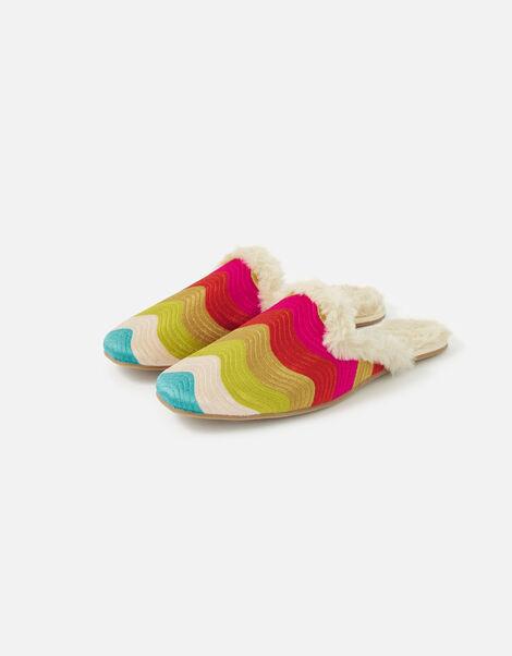 Rainbow Wave Embroidered Slippers Multi, Multi (BRIGHTS-MULTI), large