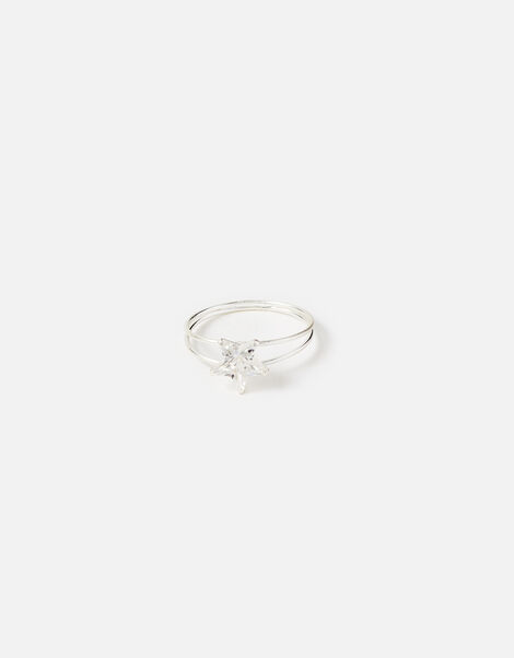 Sterling Silver Cubic Zirconia Star Ring Silver, Silver (ST SILVER), large