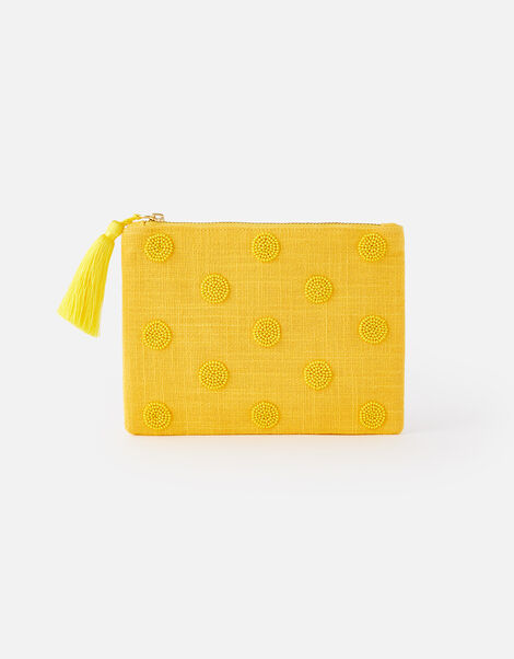 Beaded Polka Dot Pouch Bag Yellow, Yellow (YELLOW), large