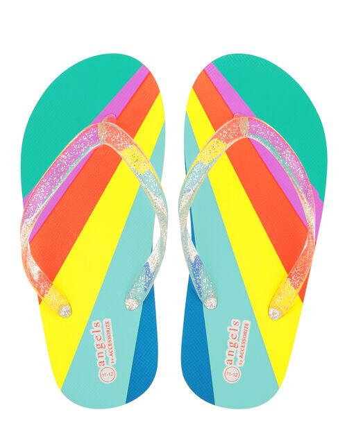 Rainbow Stripe Glitter Flip Flops, Multi (BRIGHTS-MULTI), large