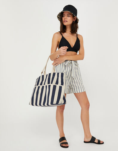 Woven Striped Tote Bag Blue, Blue (NAVY), large