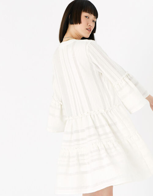 Jacquard Flute Sleeve Dress , White (WHITE), large