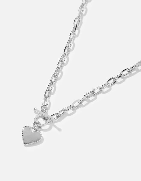 Platinum-Plated Heart Collar Necklace, , large