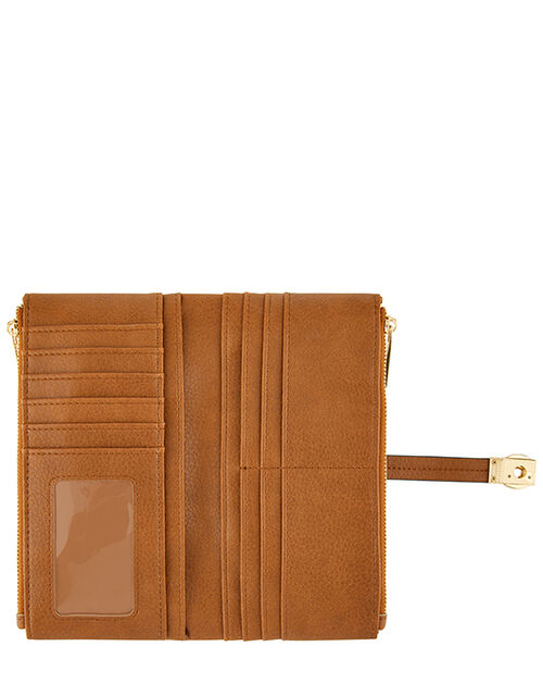 Push-Lock Faux Leather Wallet, Tan (TAN), large