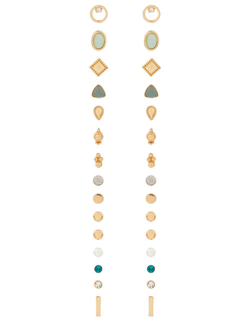 Green Mix Shape Stud Earring Multipack, , large