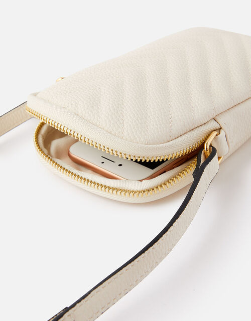 Quilted Phone Purse, Cream (CREAM), large