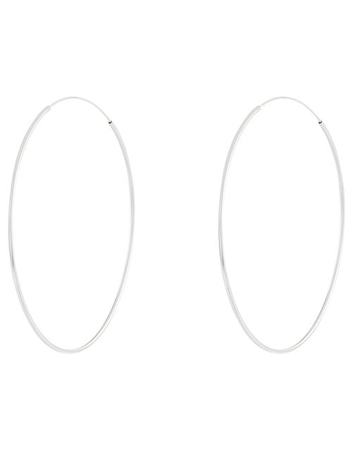Sterling Silver Large Hoop Earrings, , large