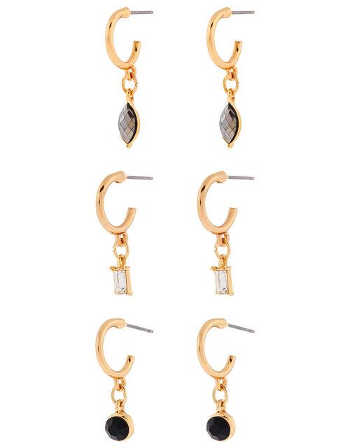 Gem Charm Small Hoop Earring Set, , large