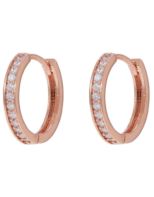 Rose Gold-Plated Crystal Huggie Hoops, , large