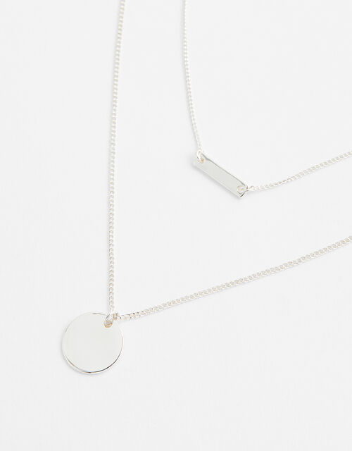 Disc and Bar Multirow Necklace, , large