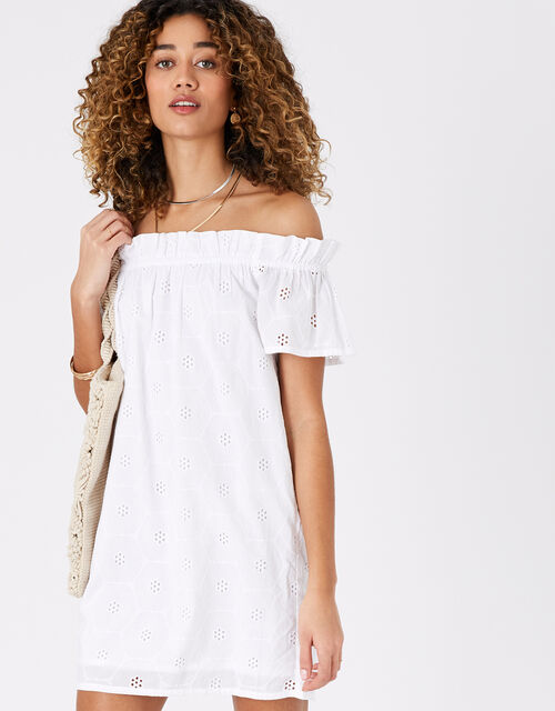 Shiffly Bardot Dress in Organic Cotton, White (WHITE), large