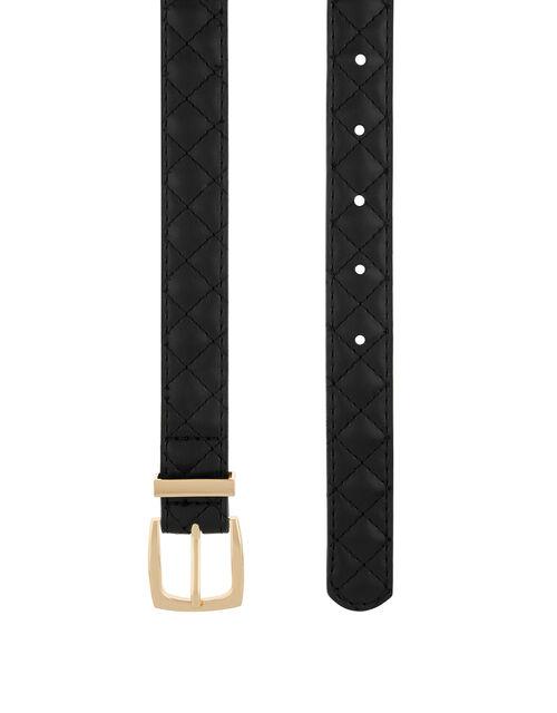 Quilted Jeans Belt, Black (BLACK), large
