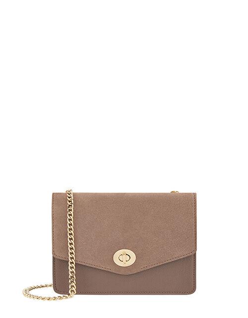 Clara Leather Cross-Body Bag, Mink (MINK), large