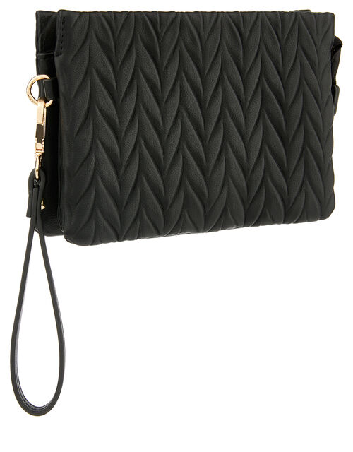 Paige Pleated Cross-Body Bag, Black (BLACK), large