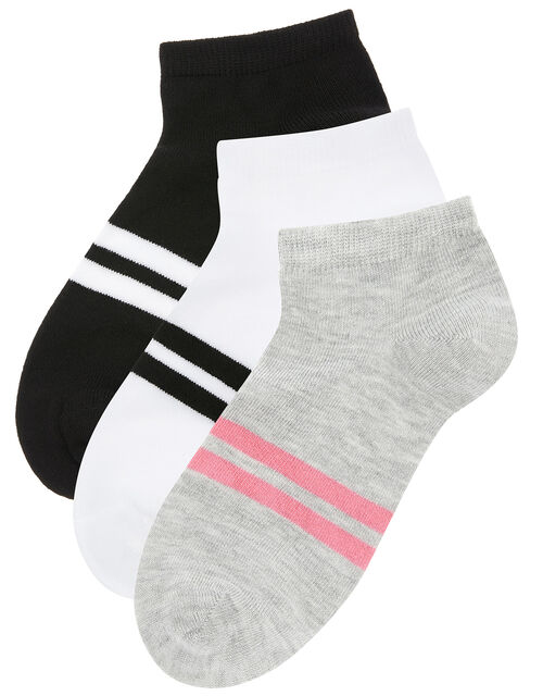 Sporty Stripe Trainer Sock Multipack, , large