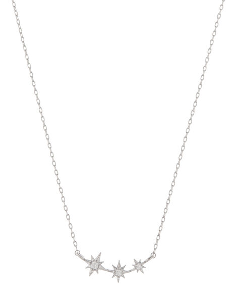 Platinum-Plated Crystal Star Necklace, , large