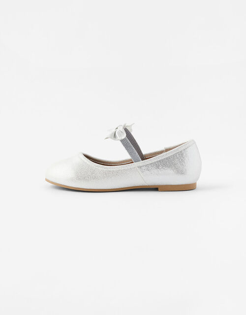 Bow Ballerina Flats, Silver (SILVER), large