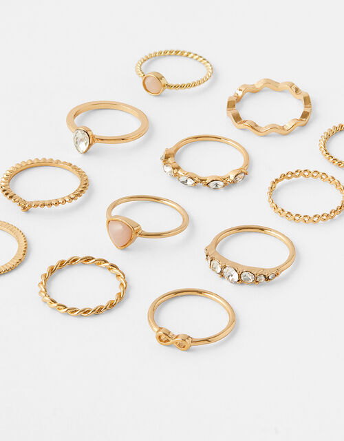 Stone and Sparkle Ring Multipack, Gold (GOLD), large